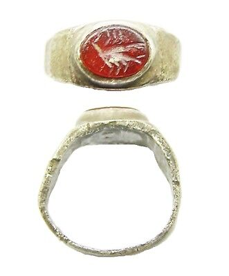 Excavated 2nd - 3rd century AD Ancient Roman Silver Intaglio Ring of a Scorpion