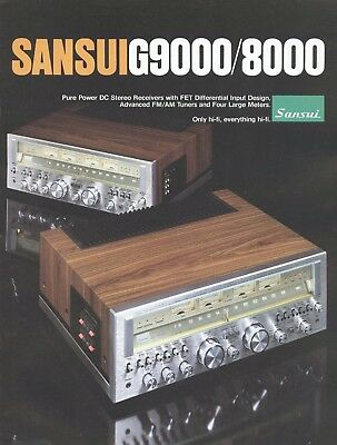 Sansui G-9000 G-8000 vintage receiver b&w PAPER COPY of the very rare brochure