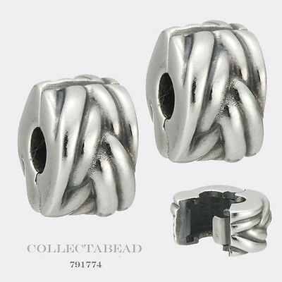 Authentic Pandora Sterling Silver Braided Clips (2) 791774