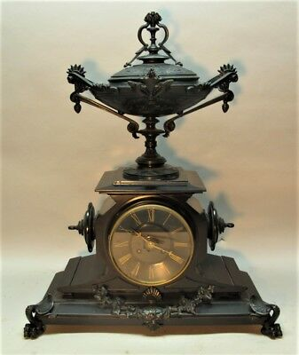 "Gorgeous 24"" FRENCH BRONZE & MARBLE Grand Tour Mantle Clock  c. 1870s"