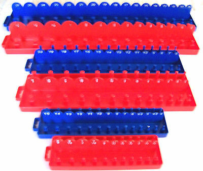 168pc GOLIATH INDUSTRIAL SOCKET TRAY RACK RAIL HOLDERS RED/BLUE DEEP SHALLOW