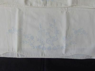 Pair of Standard Pillowcases ~ Stamped for Embroidery ~ Bible, Candles, Flowers