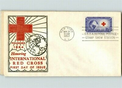 International RED CROSS Honored, 1952 First Day of Issue, thermograph C. George