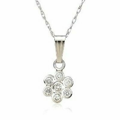 3b8e15fd3 New 14k White Gold Diamond 7 Stone Pendant Necklace Chain 18