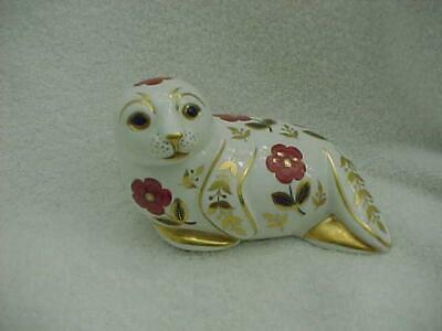 Lovely Royal Crown Derby Imari Seal Paperweight with a Silver Stopper--MINT