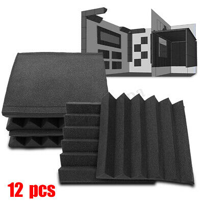 12 Pack Acoustic Wall Foam Panels Wedge Soundproofing Tiles Studio Panel Sound