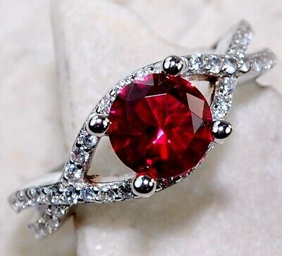 Top Quality 2CT Ruby & White Topaz 925 Solid Sterling Silver Ring Jewelry Sz 8