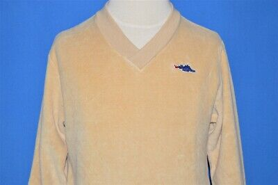 vintage 70s SEARS DINOSAUR BEIGE TAN VELOUR L/S SWEATSHIRT YOUTH SMALL S
