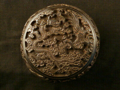 Chinese Black Hand Carved *Dragon/Phoenix* Box E078