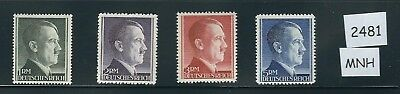 MNH Stamp set / Nazi Germany / 1RM thru 5RM MNH  /  Adolph Hitler / Third Reich