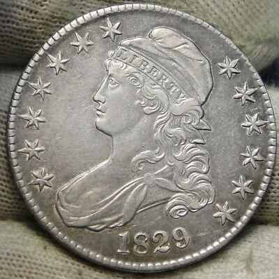 1829 Capped Bust Half Dollar - 50 Cents, Very Nice Coin, Free Shipping  (6053)