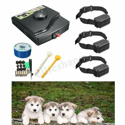 Waterproof Electric Dog Fence 3 Shock Collars System Hidden In-Ground Pet  AU