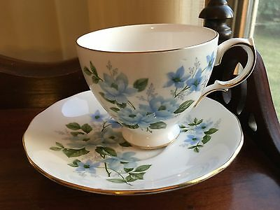 Queen Anne Blue Floral fine Bone china cup & Saucer England