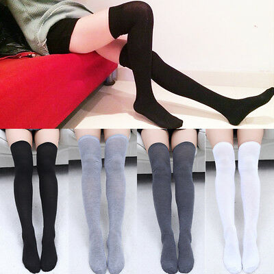 UK Ladies Over The Knee Thigh High Womens Stretch Girls Cotton Socks One Size