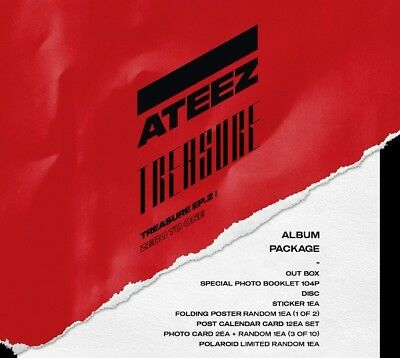 ATEEZ TREASURE EP.2 Zero To One Album CD+Book+Poster+15P. Cards+Sticker+Tracking