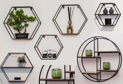 Industrial Style Hexagon Shelves with Wooden Shelf Round Metal Black
