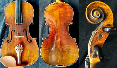 RARE 4/4 ANTIQUE GERMAN BOHEMIAN VIOLIN Label Frantisek Zyka c.1800 AUBERTバイオリン