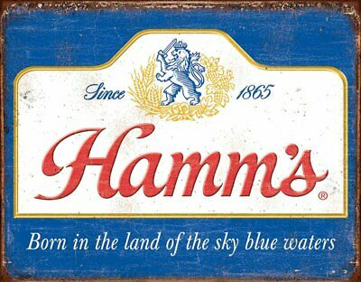 Hamm's - Classic Sky Blue Waters Beer Rustic Retro Metal Tin Sign 16 x 13in
