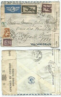 Indochine 1$+60C+5C+30C Lettre Cover Hanoi 1940 To France Censure Hong Kong