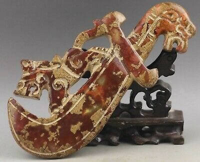 Old Chinese natural jade hand-carved dragon sword statue 6.3 inch