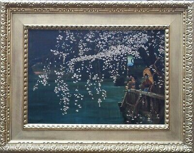 E B POWELL BRITISH ART EARLY 20thC OIL PAINTING LANDSCAPE JAPANESE BLOSSOM JAPAN