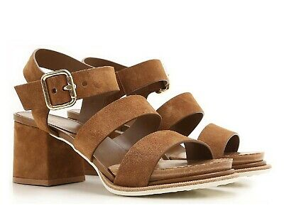 8cd18cd10672 Tod s women s block heels sandals shoes in brown suede leather Size US 10  ...