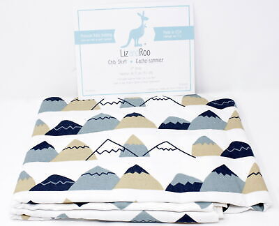 "Liz and Roo Mountain High Crib Skirt 17"" Drop, Indigo"