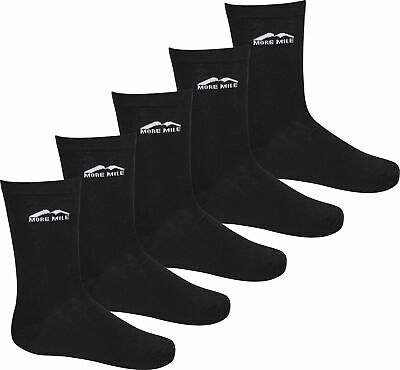 More Mile Stromstad Sports Crew Socks Black 5 Pairs Pack Mens Womens