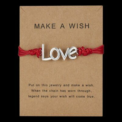 Wish Friendship LOVE Bracelet Adjustable Bangle Handmade Lovers Paper Card gIFT