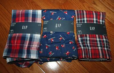 THREE (3) NEW NWT Mens GAP Boxers Boxer Shorts Underwear LARGE Plaid *5M