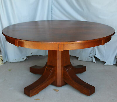 "Antique Mission Arts & Crafts Round Oak Dining Table – Stickley Brothers - 54"" t"