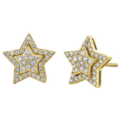 10K Yellow Gold Diamond Star Studs 12mm Double Halo Frame Pave Earrings 0.55 CT.
