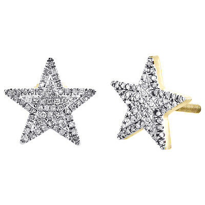 10K Yellow Gold Diamond Star Studs 11mm Double Halo Frame Pave Earrings 1/4 CT.