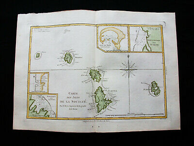 "1787 BONNE ""amazing map"": SOCIETY Is. MOOREA, HUAINE, RAIATEA, TAHAA, BORA BORA"