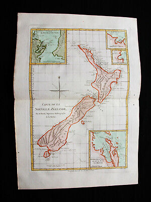 "1787 BONNE ""amazing map"" of NEW ZEALAND, AUSTRALIA, OCEANIA, STEWART Is. CHATHAM"