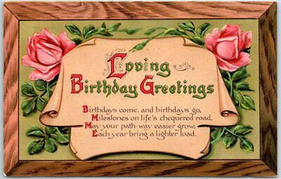 "Vintage Embossed Postcard ""Loving Birthday Greetings"" Pink Roses 1910 Cancel"