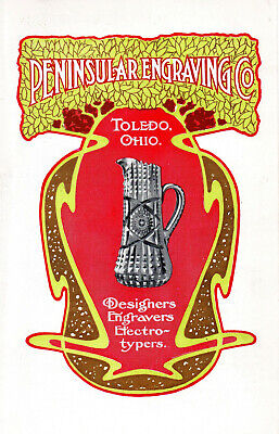1902 Peninsular Engraving Co, Toledo, Ohio Two-Sided Color Litho Advertisement