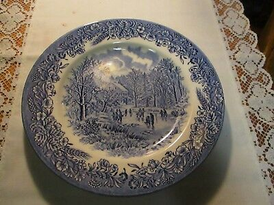 "Churchill Currier & Ives, ""Early Winter ""  8"" Salad Plate, Blue"