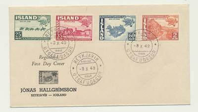 Iceland 1949 Upu Set On First Day Cover, Illustrated (See Below)