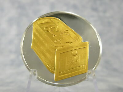 CARTOUCHE BOX Egyptian Treasures Sterling Silver & Gold Medal ~31 grams