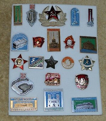 Vintage Russian Ussr Military Lot Of 21 Collectible Pins