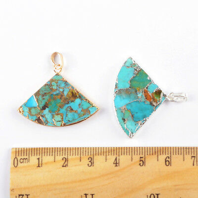 1Pcs Gold Silver Plated Geometric Fan Blue Copper Real Turquoise Pendant HG1684