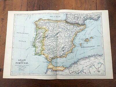 1900s double page map from g.w. bacon - spain & portugal