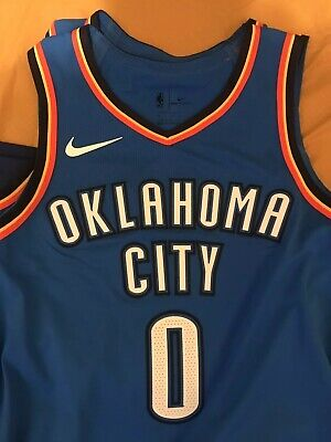 official photos 6b289 ca951 RUSSELL WESTBROOK AUTHENTIC Nike Oklahoma City Thunder Jersey L 48
