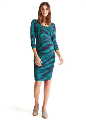 a7f3150d30 Ingrid   Isabel Maternity 3 4 Sleeve Navy   Green Stripe Shirred Dress  Small 4