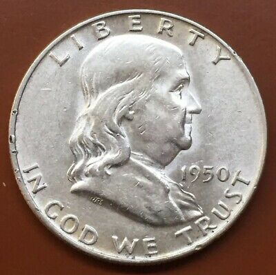 1950-D Franklin Silver Half Dollar AU Almost Uncirculated Coin Nice Bell Lines