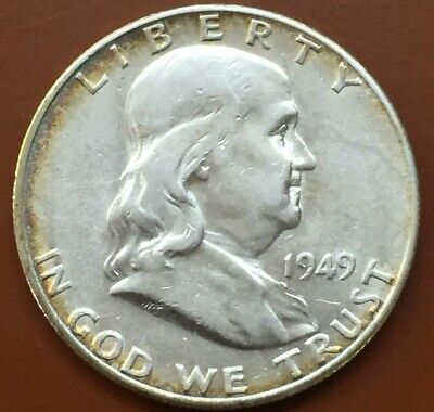 1949-S Franklin Silver Half Dollar AU Almost Uncirculated Coin Nice Bell Lines