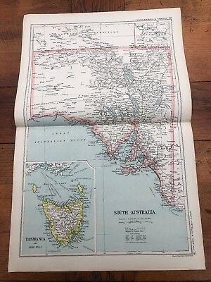 1900s double page map from g.w. bacon - south australia & tasmania
