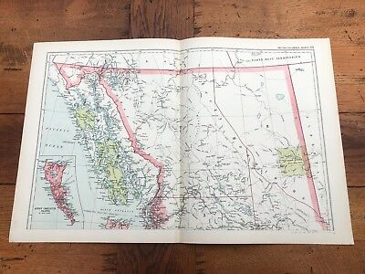 1900s double page map from g.w. bacon - british columbia north !