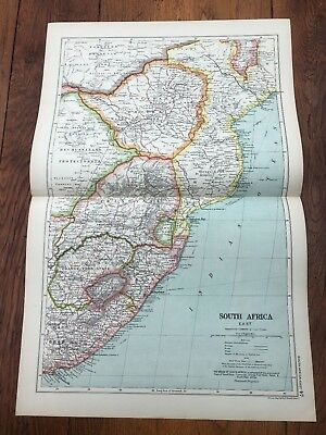 1900s double page map from g.w. bacon - south africa - east